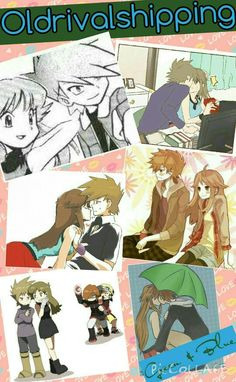 Oldrivalshipping (Blue is the girl. Green is the boy) Pokemon Firered, Pokemon Manga, Pokemon Ships, Pokemon Couples, Right In The Childhood, Pokemon Special, Anime One, Find Picture, Romances