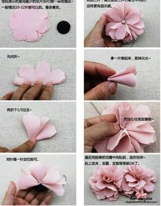 Ideas Flowers Fabric House You are in the right place about DIY Fabric Flowers bouquet Here we offer you the most beautiful pictures about the DIY Fabric Flowers step by step you a Cloth Flowers, Felt Flowers, Diy Flowers, Fabric Flowers, Paper Flowers, Fabric Flower Headbands, Ribbon Flower, Chiffon Flowers, Lace Fabric