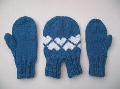 Smitten Set with Hearts, Blue Love-glove Set, Couples Gloves, Blue Double Gloves with Hearts, Dark Turquoise Smitten, Blue Couples Mittens