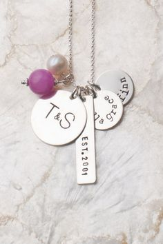 Foundations Necklace for Mom, Family Necklace, Charm Necklaces for Moms, Handstamped Sterling Silver Mommy Necklaces