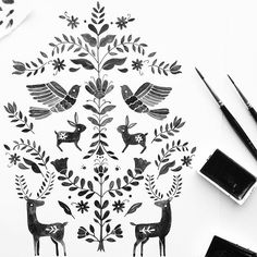 Monochrome otomi for October by Gemma Luxton, folk art, simple, design, nature, pattern