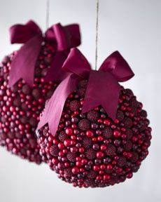 Red berries kissing ball. I like this idea since mistletoe is poisonous to pets, and it falls down so easily.