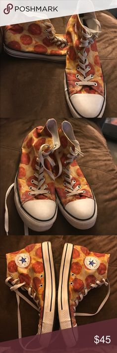 Pepperoni Pizza Converse Shoes!!!  Rare!  Men's 10 These are rare converse shoes!  Pepperoni pizza!!!  They are a men's 10 or women's 12!!  Worn very little!! Great condition!!! Converse Shoes Athletic Shoes