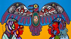 "Eugene Morriseau ~ Lake Superior Art Gallery ""Spiritual Thunderbird Handing down Wisdom and Knowledge to Man"" - Eugene Morriseau. a member of Sandy Lake First Nation which is my home community. I am one of seven of Norval Morrisseau's children. Red Lake, Lake Superior, Aboriginal Art, First Nations, Art Gallery, Spirituality, Knowledge, Wisdom, Community"