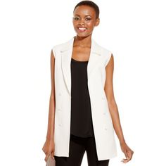 Tahari Asl Notched-Collar Vest ($58) ❤ liked on Polyvore featuring outerwear, vests, natural, holiday vest, notch lapel vest, tahari by arthur s. levine, vest waistcoat and white waistcoat