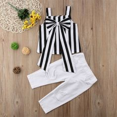 Striped Tank with Bow and Ripped Pants Set Frocks For Girls, Toddler Girl Outfits, Baby Outfits Newborn, Little Girl Dresses, Kids Outfits, Baby Girl Fashion, Toddler Fashion, Kids Fashion, Baby Dress Design