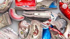 """Drippings of excess paint in automobile factories build over time into beautiful gem-like structures, or """"fordite"""" via  Atlas ObscuraVerified account @atlasobscura"""
