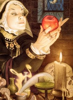 Charles Santore, 'The Evil Queen and the Poison Apple' from 'Snow White' by The Brothers Grimm Alphonse Mucha, Denis Zilber, Brothers Grimm, Fairytale Art, Children's Book Illustration, Book Illustrations, Childrens Books, Illustrators, Fantasy Art