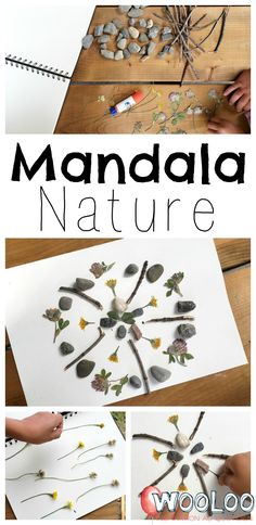 Mandala Nature – Wooloo – Keep up with the times. Mandala Nature, Mandalas For Kids, Crafts To Make, Crafts For Kids, Kids Nature Crafts, Easy Crafts, Summer Camp Themes, Nature Activities, Baby Activities