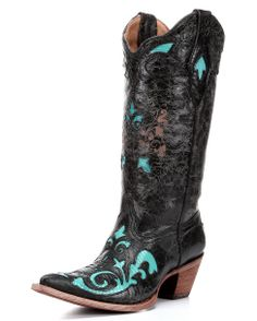 Corral Women's Black/Turquoise Vintage Lizard Inlay Boot - C2658 $257.95