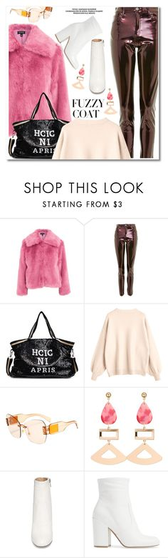 """Fuzzy coat"" by paculi ❤ liked on Polyvore featuring Topshop, Steve Madden, StreetStyle, Pink, preppy and fuzzycoats"
