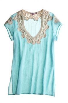 """ightweight deep-v tunic  cotton crochet neck and shoulder detail  side vents at hem    29"""" long  39.25"""" bust  4.25"""" sleeve  measurements taken from size small"""