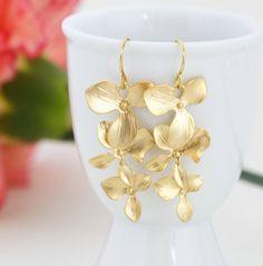 Gold Flower Earrings by JacarandaDesigns, $22.00