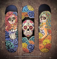 Artist: Erika Pearce.  Awesome hand painted dia de los muertos.