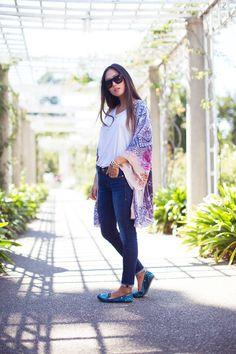 Aimee Song | Song of Style | Athena Procopiou floral print kimono & Frame Denim Skinny Jeans