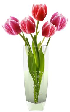 Pink Red Tulips Vase PNG Clipart