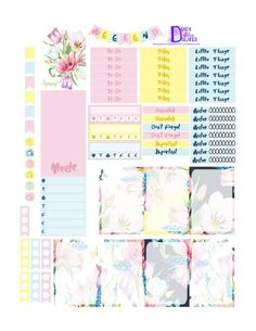 Free Spring in Bloom Printable Planner Stickers.