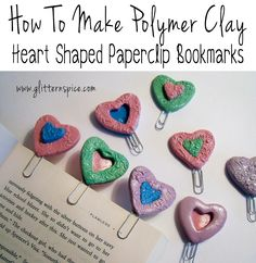 How To Make Heart Shaped Polymer Clay Bookmarks #books #gifts