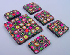 Polymer Clay Buttons square set of 6 by FlowertownOriginals