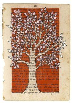 illustration on vintage book page