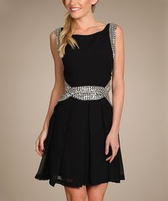 Spy Dresses Black Embellished Fit Flare Dress By