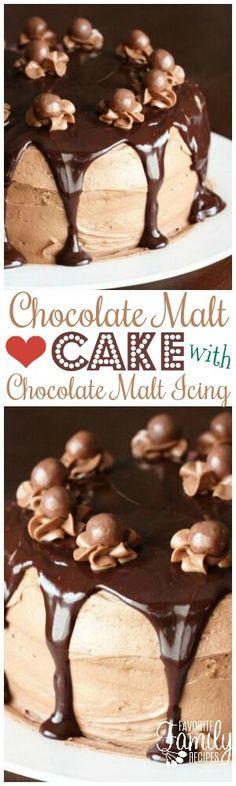 Chocolate Malt Cake with Chocolate Malt Icing is a WIN. Chocolate layered cake with chocolate frosting AND chocolate ganache is a chocolate lovers dream! via @favfamilyrecipz