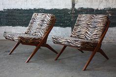 Hypnotic Folke Ohlsson Swedish Mid Century Modern Scissor Lounge Chairs For Dux (Sweden, 1960s)