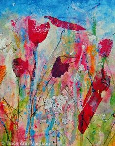 Mixed Media Canvas Art | Floral Art Print from Colourful Mixed Media Painting