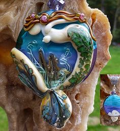 $140.00 Neptune's Jewel Mermaid original custom handmade lampwork mermaid bead pendant SRA