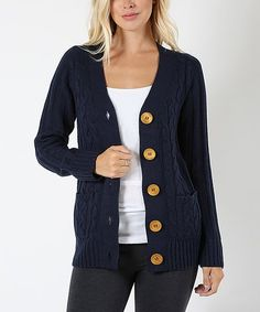 The essential long-sleeve cardigan gets a retro-chic update from cable and rib-knit accents and bold contrast buttons. Cold Weather Fashion, Retro Chic, Rib Knit, Navy, Knitting, Long Sleeve, Sleeves, Sweaters, Hale Navy