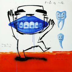 """Saatchi Online Artist Jan-Hein Arens; Painting, """"Me & my teeth"""" #art"""