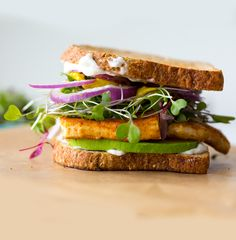 Vegan Lunch Sandwich with Sizzling Skillet Tofu & Avocado   from vegan food blogger, author and food photographer Kathy Patalsky