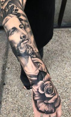 Jesus Tattoos - Tons of Jesus Tattoo Designs & Ideas - Tattoo Me Now Jesus Tattoo Sleeve, Forearm Sleeve Tattoos, Best Sleeve Tattoos, Tattoo Sleeve Designs, Jesus Forearm Tattoo, Jesus Tatoo, Heaven Tattoos, God Tattoos, Forarm Tattoos