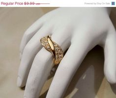 SALE Vintage Gold faux diamond ring size 8 by PaganCellarJewelry, $8.49