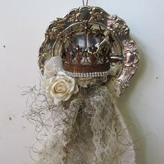 Recycled silverplate and crown wall hanging French farmhouse white roses tattered lace one of a kind home decor anita spero design