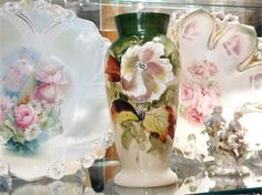 ITEM # 091609 (Box-2)   Antique Victorian 1800s Bristol glass in an opaline clambroth vase with hand painted flowers.   Vase measures 8 1/2 tall.   Very good antique condition with typical wear due to age and handling. No chips, cracks etc in glass, just typical straw marks and air bubbles from the early hand blown manufacturing process. The decoration is in very good condition as well, with only minimal loss upon close inspection.   Bristol glass was made in Bristol, England, by the 180...