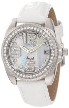 Invicta Womens 1118 Wildflower White MotherOfPearl Dial Crystal Accented White Leather Watch ** You can find more details by visiting the image link. (This is an Amazon affiliate link)