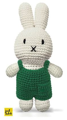 Crochet cotton Miffy off-white Miffy in her green overalls. Buy this Miffy handmade crochet online today. Crochet For Kids, Crochet Toys, Crochet Baby, Knit Crochet, Miffy, Amigurumi Doll, Crochet Projects, Hello Kitty, Baby Kids
