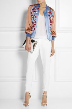 Jonathan Saunders Cecily Embroidered Satin Bomber Jacket.