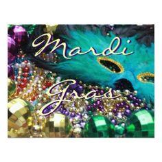 Mardi Gras Feather Mask & Beads Custom Invitations