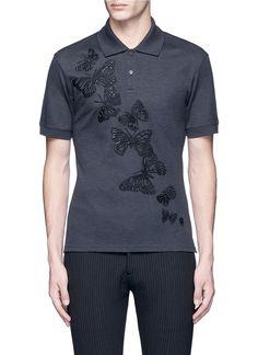 ALEXANDER MCQUEEN Butterfly embroidered polo shirt. #alexandermcqueen #cloth #shirt