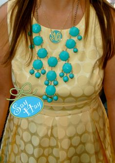 Preppy Monogrammed Enamel Necklace with Bubble Statement Neclace. $65.00, via Etsy.