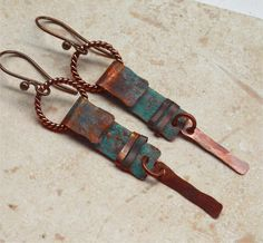 """Earmetal5-Hammered Rustic Copper Earrings by SunStones on Etsy These earrings are made from copper that has been annealed, hammered and had a beautiful verdigris patina added. I cut the strips and formed the curled section at the top, added twisted wire rings and dangles Length 2 3/4"""""""