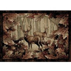 Delectably Yours Whitetail Woods Wildlife Deer Rug by Mayberry Rugs American Destinations in 3 sizes and a hall runner.   #DelectablyYoursDecor Cabin Lodge Rugs & Home Decor