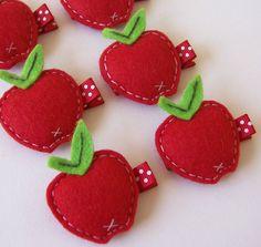 Puffy Felt Red Apple Hair Clip - An adorable red apple felt clippie - Cute every day clip - Birthday party favor