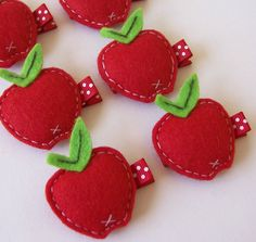 Puffy Felt Red Apple Hair Clip - An adorable red apple felt clippie - Cute every day clip - Back to School