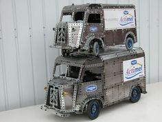 Two Meccano Citroen H vans at different scales bty Stefan Tokarski