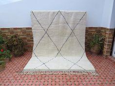 Beni Rugs, Hallway Runner, Beni Ourain, Wool Carpet, Berber Rug, Black Diamond, Moroccan, Wool Rug, Bohemian Rug