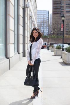Fashion Truffles. Black top+black leggins with leather effect+black pep toed heels+white crochet blazer+black handbag. Spring work outfit 2016