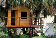 Construída sobre um terreno em declive, esta casa na árvore, com direito a escorregador e tudo, encanta os adultos e enlouquece as crianças. Quem assina o projeto é engenheiro  Lao Napolitano, da Lao Design Engenharia